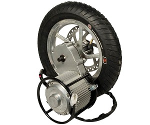 Rear Aluminum Alloy Electric Scooter Wheel With Attached 36 Volt 1000 Watt Brushed Rare Earth Magnet Motor And Fully Enclosed