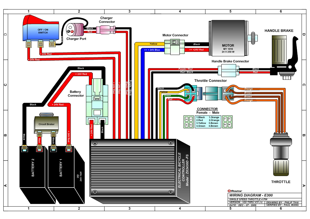 wiring diagram 36 volt electric bike battery razor e300 scooter Jeep Electrical Diagram